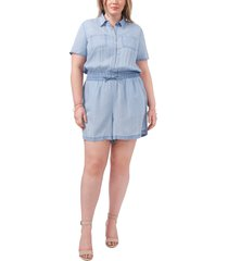 vince camuto light wash utility romper, size 3x in arctic surf at nordstrom