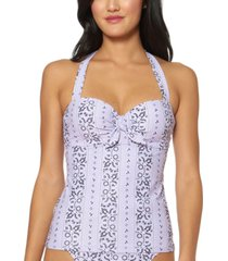 jessica simpson printed bow-front halter tankini top women's swimsuit