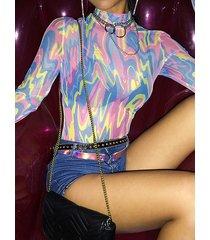 body de malla de camuflaje multicolor cuello