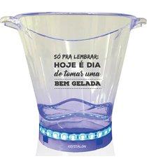balde de gelo com led personalizado bem gelada - incolor - dafiti
