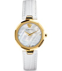 14k gold, stainless steel & leather-strap watch