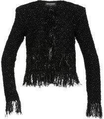 balmain cardigan witih fringes