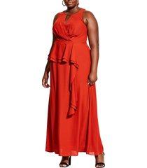 plus size women's city chic cascade ruffle maxi dress, size small - orange