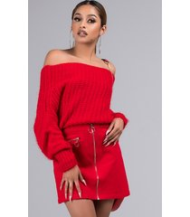 akira caught you staring off shoulder knit sweater