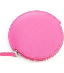 royce new york travel earbud leather carrying case - bright pink