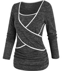 contrast tipping marled criss cross t shirt