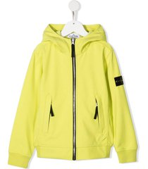 logo-patch zip-up hooded jacket