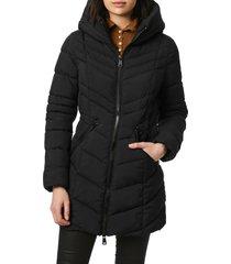 bernardo bernado packable ecoplume(tm) hooded walker coat, size x-small in black at nordstrom
