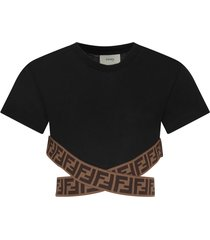 fendi black girl t-shirt with double ff