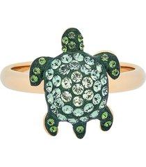 anello mustique sea life turtle, piccolo, verde, placcato color oro