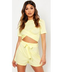 twist front rib top & belted shorts co-ord, lemon