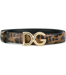 dolce & gabbana leopard-print logo buckle belt - brown