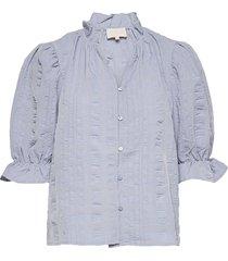 bergitta blouse blus långärmad blå minus