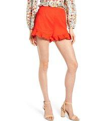 women's lost + wander papaya ruffle shorts, size small - orange