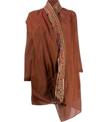 romeo gigli pre-owned 1990s metallic scarf kaftan jacket - brown