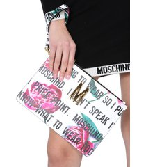 moschino pouch with slogan flowers print
