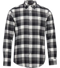 brushed twill check shirt overhemd casual zwart calvin klein