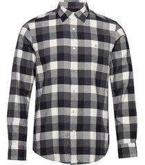brushed twill check shirt overhemd casual zwart calvin klein