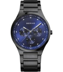 bering men's classic black stainless steel bracelet watch 40mm
