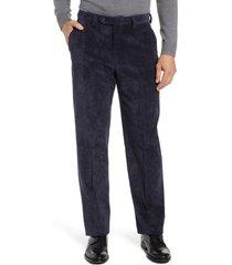 men's berle classic fit flat front corduroy trousers, size 35 - blue