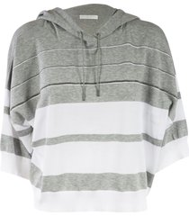 fabiana filippi oversized fit striped hoodie