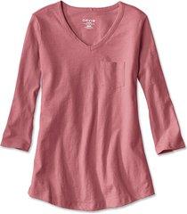 1856 organic cotton three-quarter-sleeved tee, weathered pink, x small