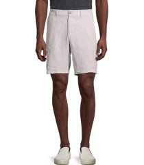 saks fifth avenue men's flat-front linen shorts - chateau grey - size m