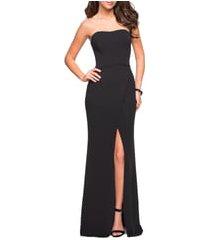 women's la femme strapless jersey evening dress, size 6 - black