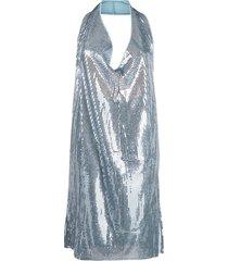 bottega veneta cowl-neck sequinned mini dress - blue