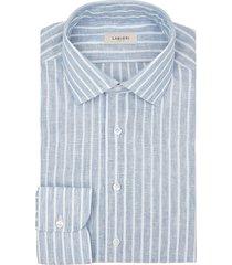 camicia da uomo su misura, albini, lino azzurro rigato, primavera estate | lanieri