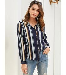 blusa de cuello clásico a rayas con botones de yoins