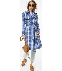 mk trench in twill a quadri - chambray (blu) - michael kors