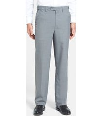 men's berle self sizer waist tropical weight flat front classic fit dress pants, size 32 x - grey