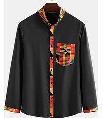 incerun hombres de estilo étnico con estampado geométrico de manga larga con botones camisa