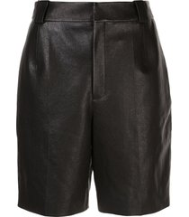 pleated detail bermuda leather shorts