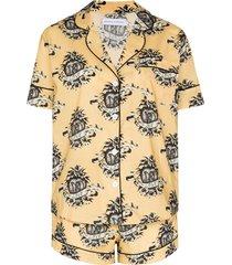 desmond & dempsey heart logo-print pajama set - yellow