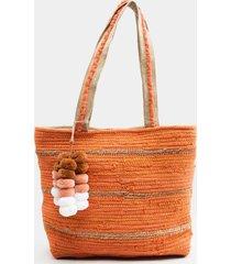 blythe stripe beach tote - coral