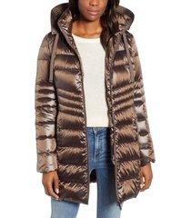 women's sam edelman hooded down coat, size x-large - metallic
