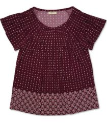 style & co pleated printed top, created for macy's