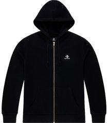 converse sudadera con capucha con cremallera completa y logotipo de estrella y galón bordado black