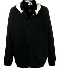 takahiromiyashita the soloist zip front lace-up detail hoodie - black