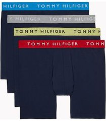tommy hilfiger men's cotton stretch boxer brief 4pk navy/grey heather/limelight/barberry/diva blue wbs - xl