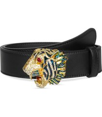 women's gucci crystal tiger head leather belt, size 105 - nero/ multi