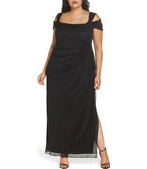 plus size women's alex evenings cold shoulder glitter column gown, size 22w - black