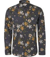 shirt, l/sl, allover digital printe dk grey