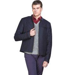 casaco belfast curto azul