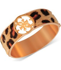 guess gold-tone cheetah-print faux-fur animal print bangle bracelet