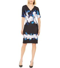 adrianna papell floral v-neck dress