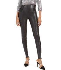 spanx faux-leather hip-zip leggings