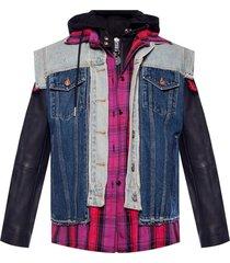 jacket with denim vest motif